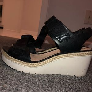 Clarks leather wedges